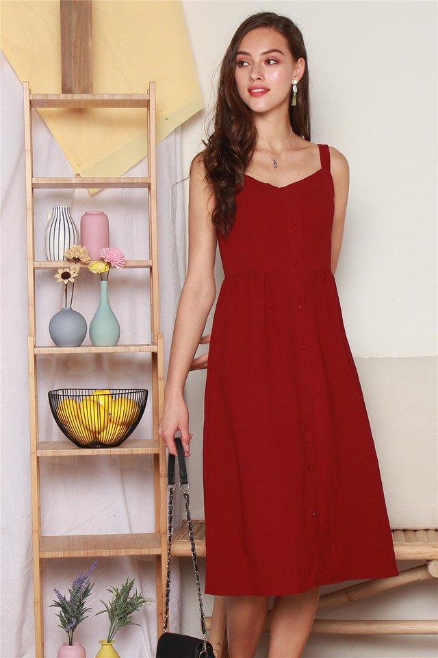 Button Down Thick Strap Midi Dress in Wine