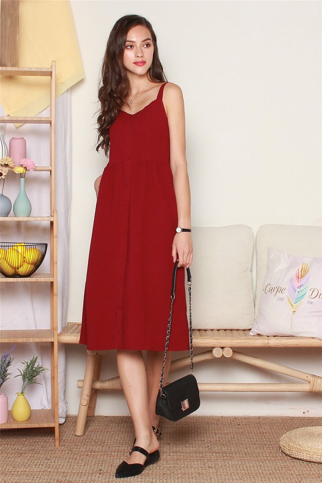 Button Down Thick Strap Midi Dress in Wine