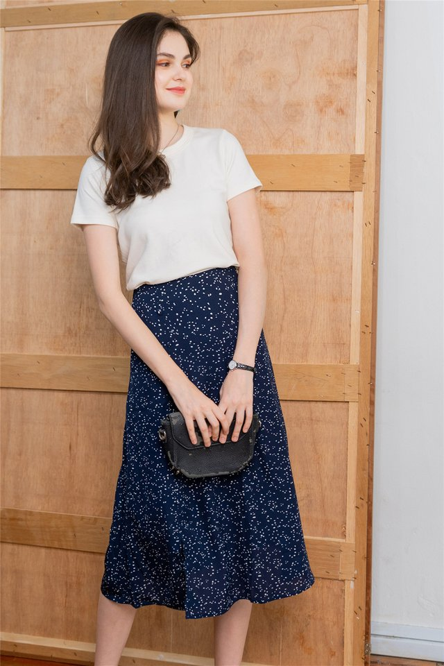 *BACK IN STOCK* Polka Dot Printed Midi Swing Skirt in Navy