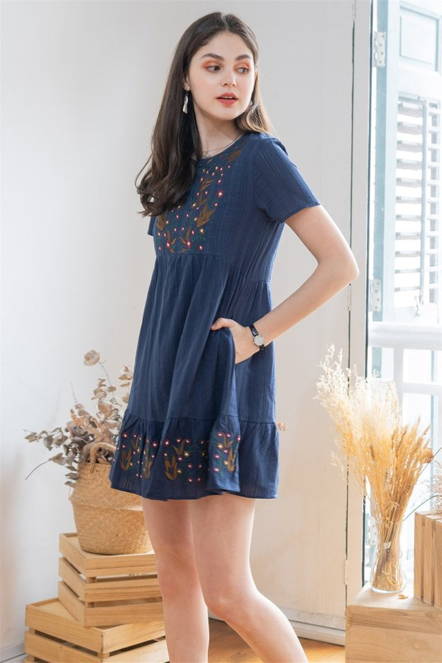 ACW Rustic Embroidery Sleeved Babydoll Dress in Navy
