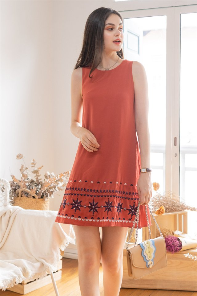 *BACK IN STOCK* Star Sign Embroidery Shift Dress in Burnt Orange