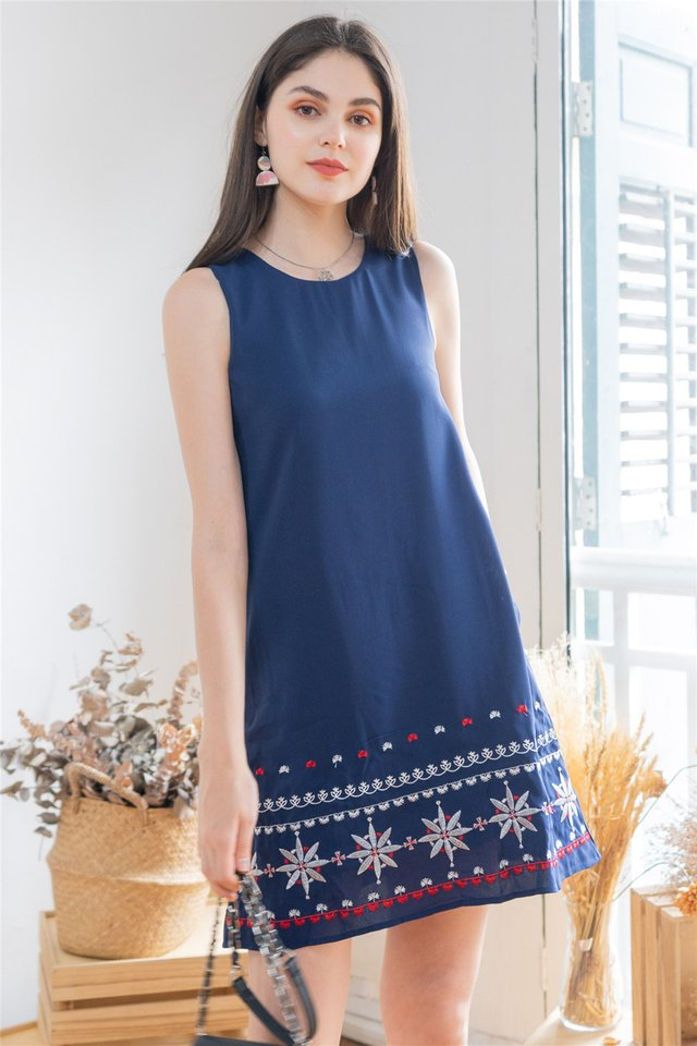 *BACK IN STOCK* Star Sign Embroidery Shift Dress in Navy