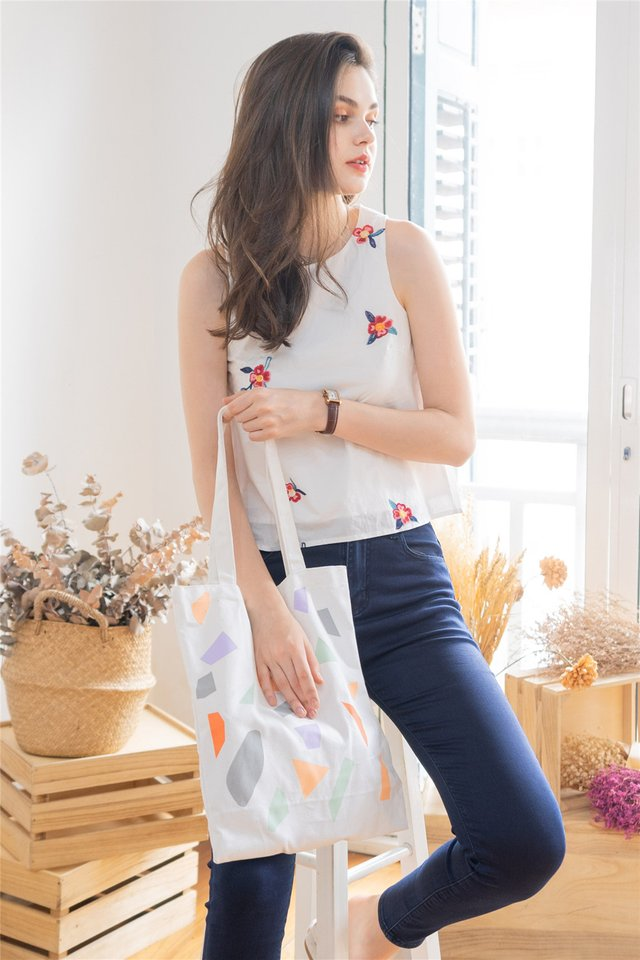 ACW Peony Embroidery Shell Top