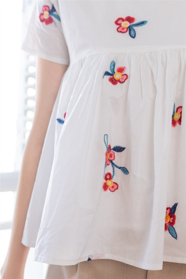 ACW Peony Embroidery Babydoll Sleeved Top