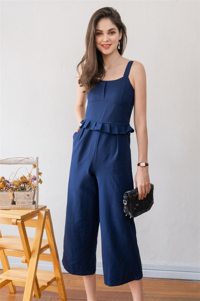 Ruffle Waist Jumpsuit in Navy
