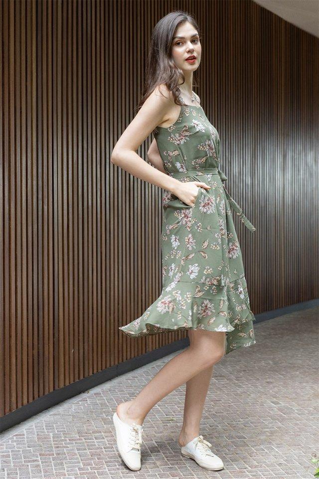 ACW Magnolia Floral Tier Hem Midi Dress in Olive