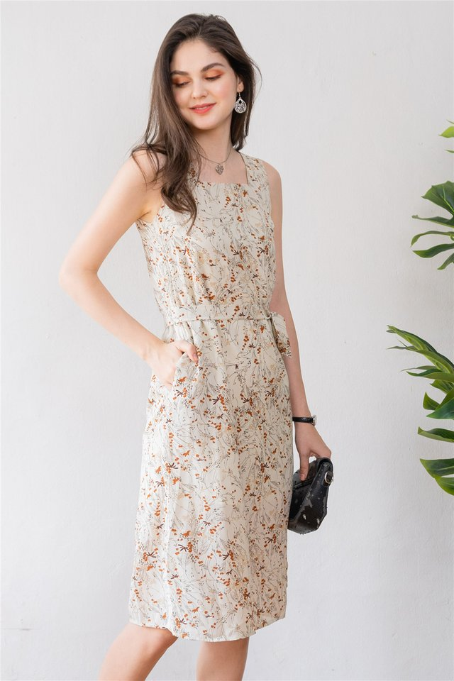 ACW Cream Wheat Square Neck Sash Midi Dress