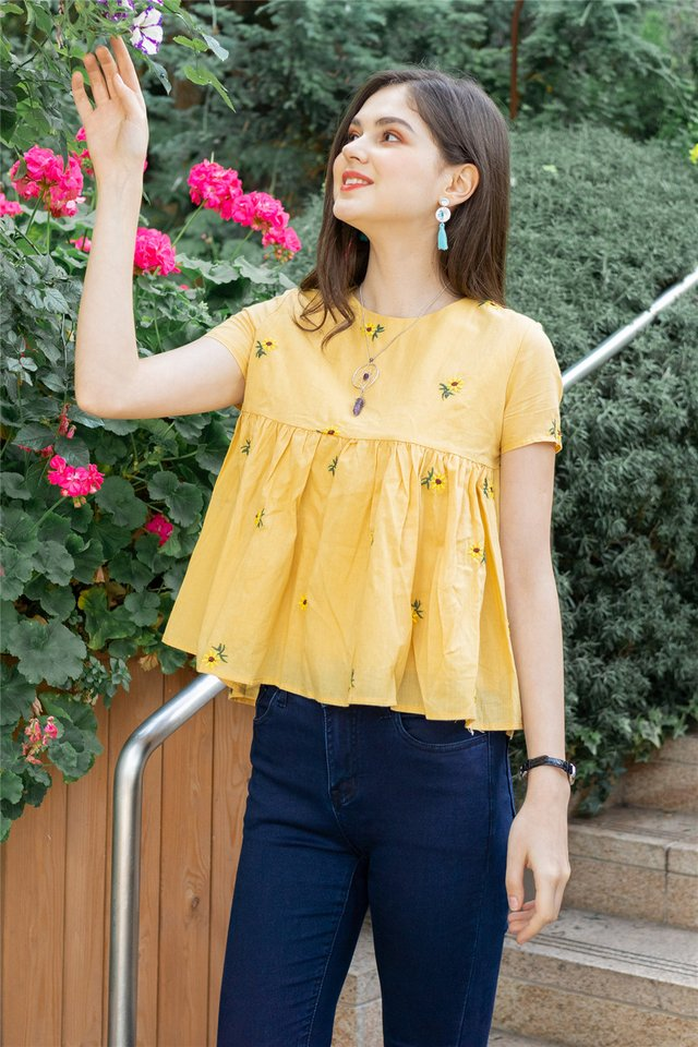*Backorder* ACW Sunflower Embroidery Babydoll Sleeve Top