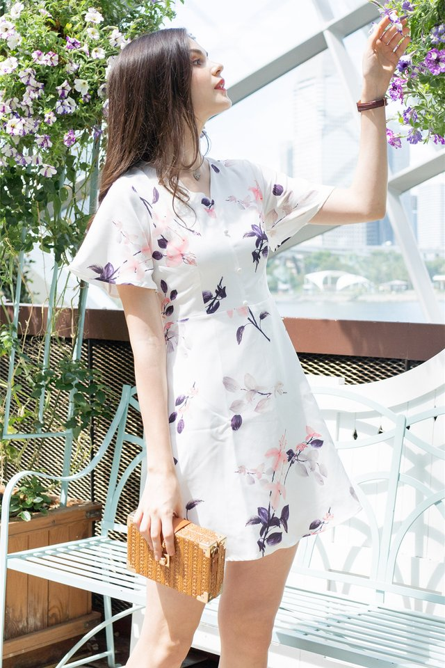 Sakura Floral Skater Swing Dress in White
