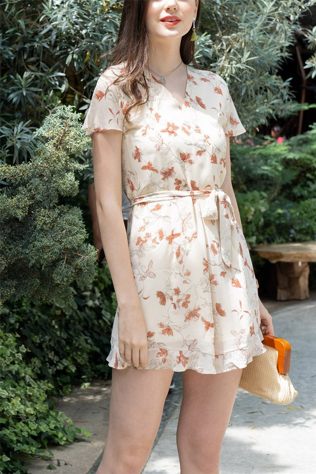 ACW Botanical Floral Sash Romper in Cream