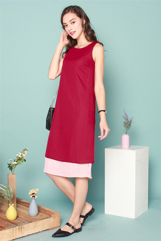 Straight Cut Tier Colourblock Midi Dress in Wine