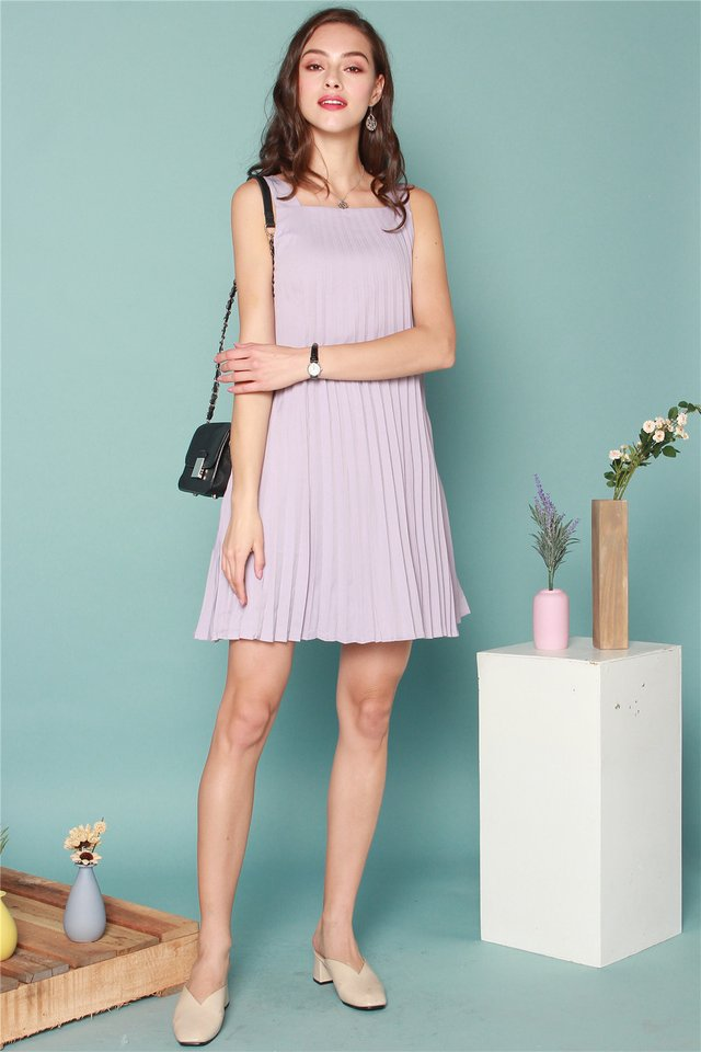 ACW Thick Pleats Cut In Dress in Dusty Grey