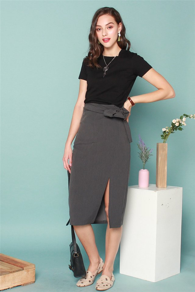 Tie Front Midi Slit Skirt in Grey