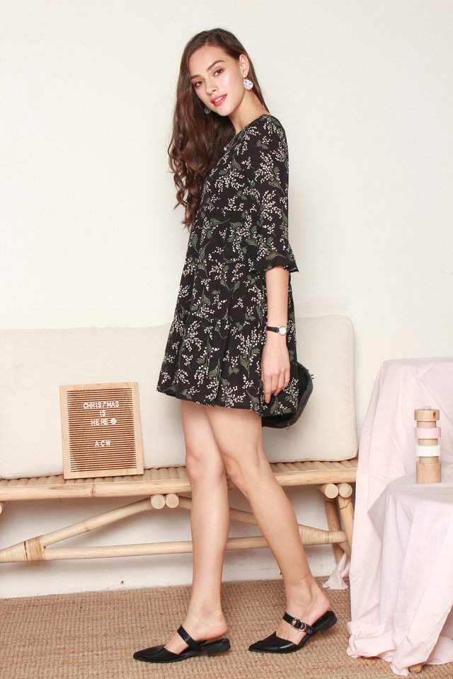 ACW Garden Floral Bell Sleeve Tiered Dress in Black
