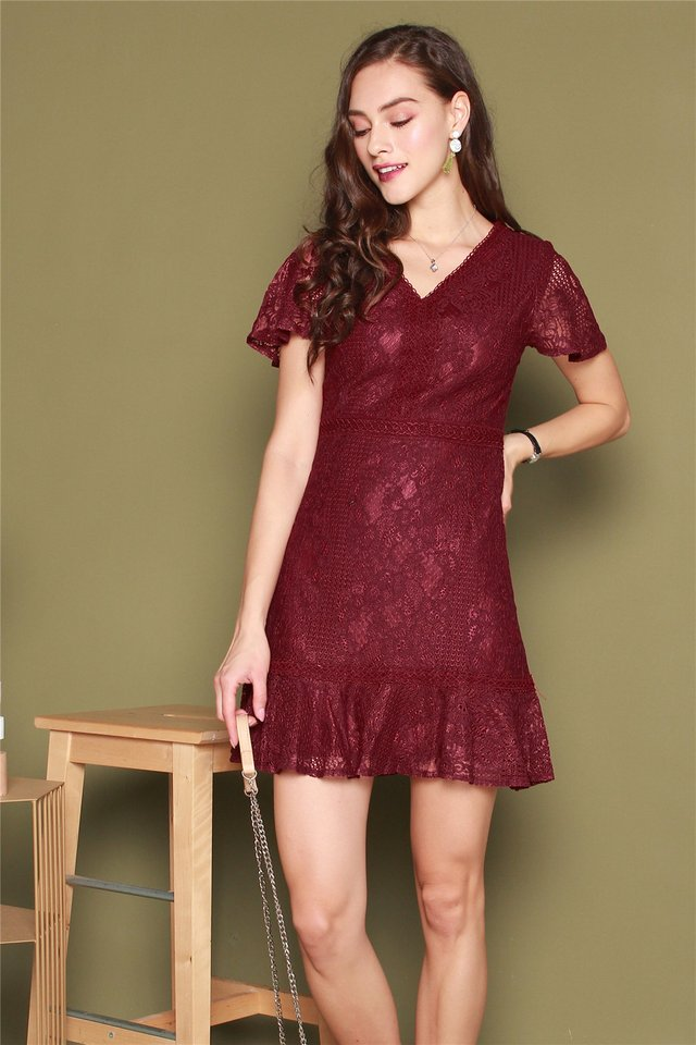Drop Hem Lace Sleeved Dress in Wine