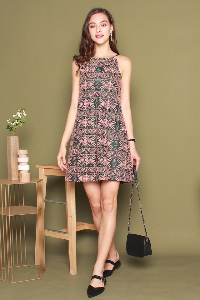 ACW Intricate Floral Lace Cut In Dress in Emerald
