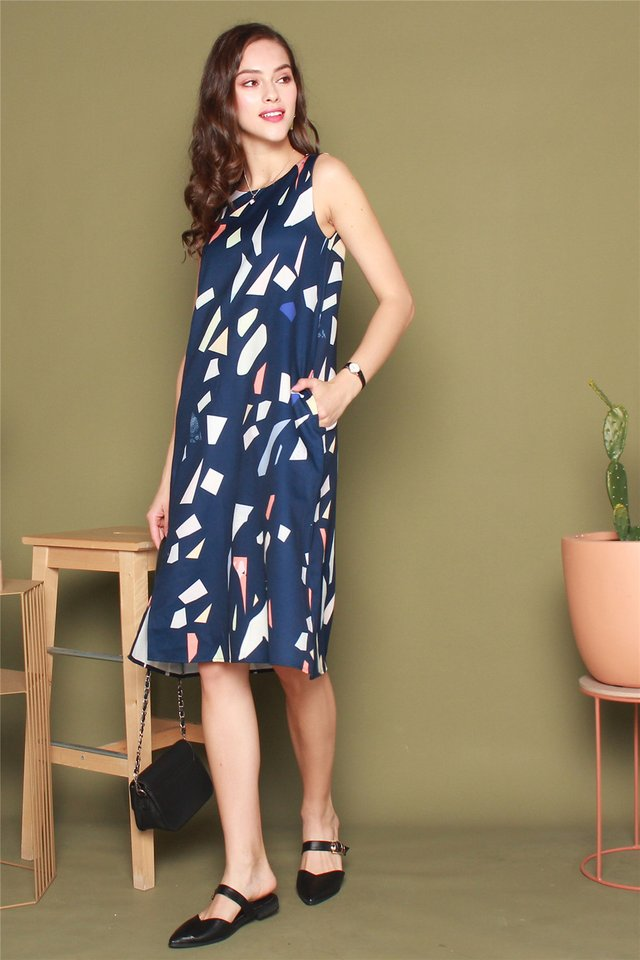 ACW Slit Midi Dress in Navy Coloured Shapes