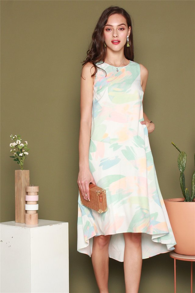 Mint Brushstrokes Dip Hem Midi Dress