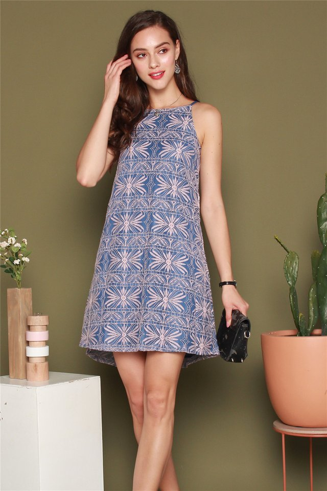ACW Intricate Floral Lace Cut In Dress in Blue
