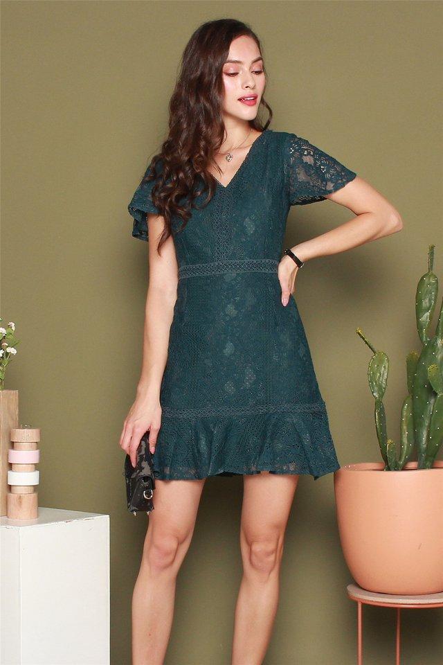 Drop Hem Lace Sleeved Dress in Emerald