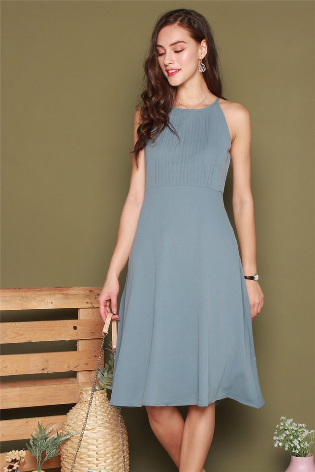 Front Pleats Midi Swing Dress in Ash Blue