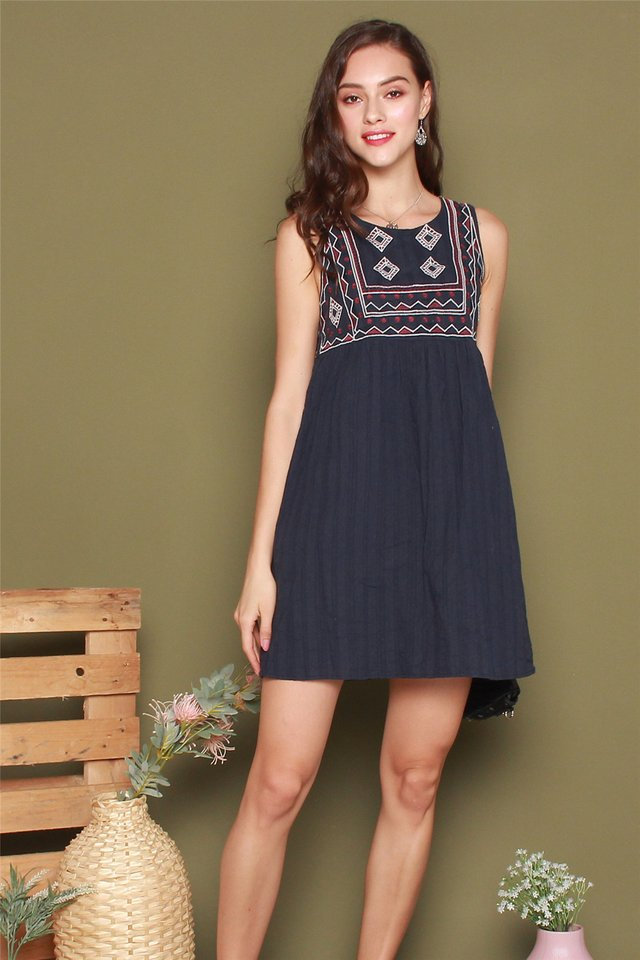 *BACK IN STOCK* ACW Embroidery Shapes Babydoll Dress in Navy
