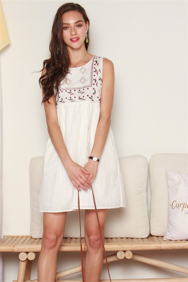 *BACK IN STOCK* ACW Embroidery Shapes Babydoll Dress in White