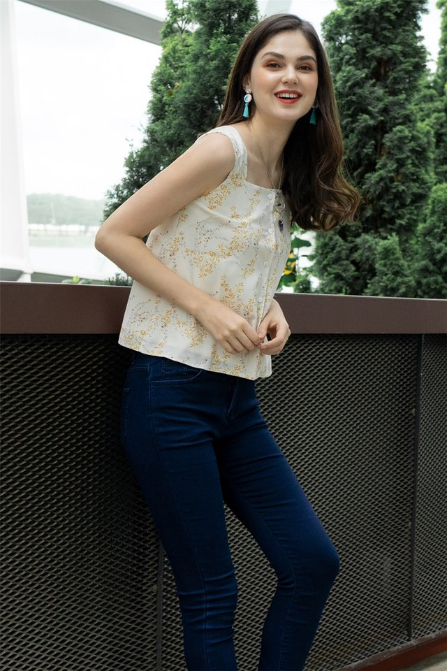 ACW Wheat Printed Button Top in Ivory
