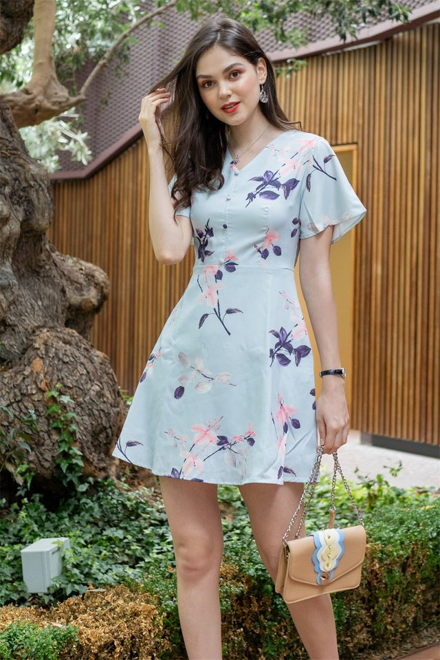 Sakura Floral Skater Swing Dress in Mint