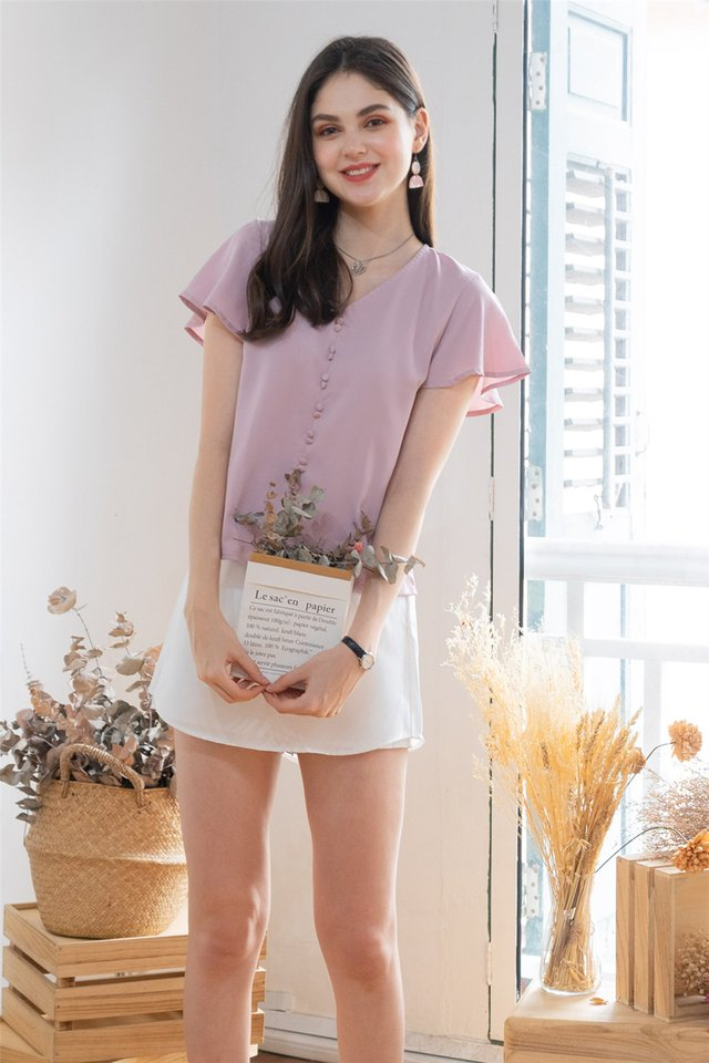 ACW Frill Sleeve Button Top in Dusty Pink