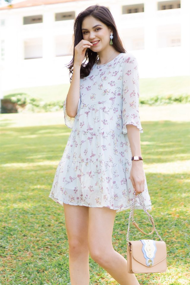 ACW Bouquet Floral Bell Sleeve Dress in Mint