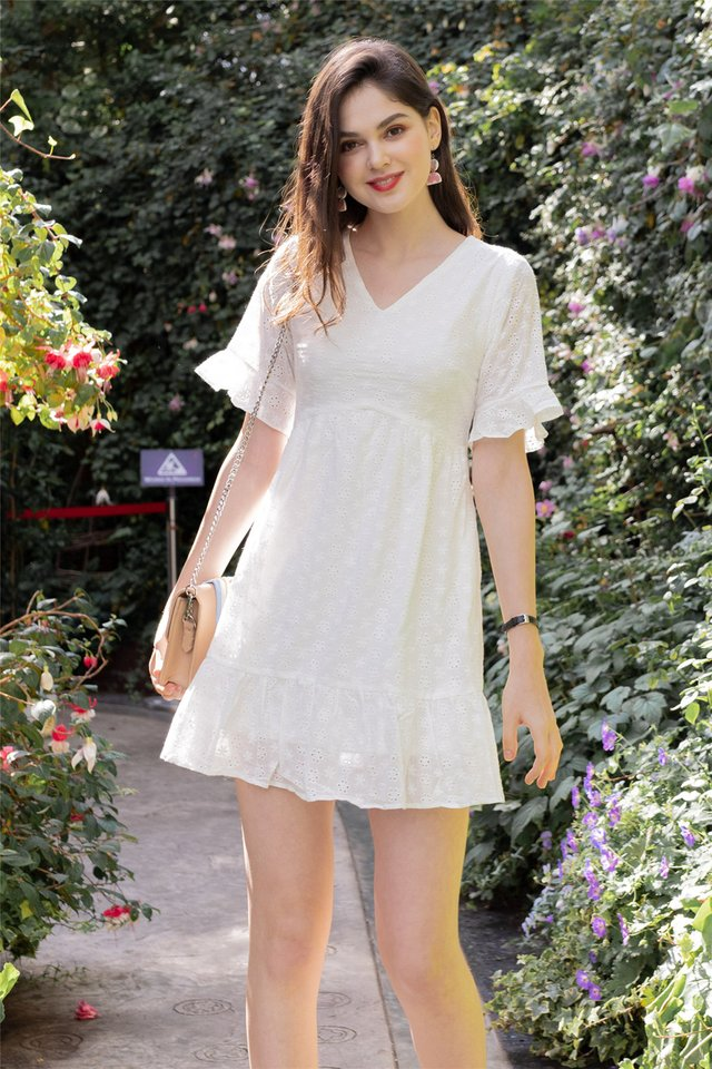 *Backorder* Eyelet Sleeved Babydoll Dress in White