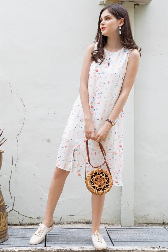 ACW Basic Slit Midi Dress in White Pop Rock Prints