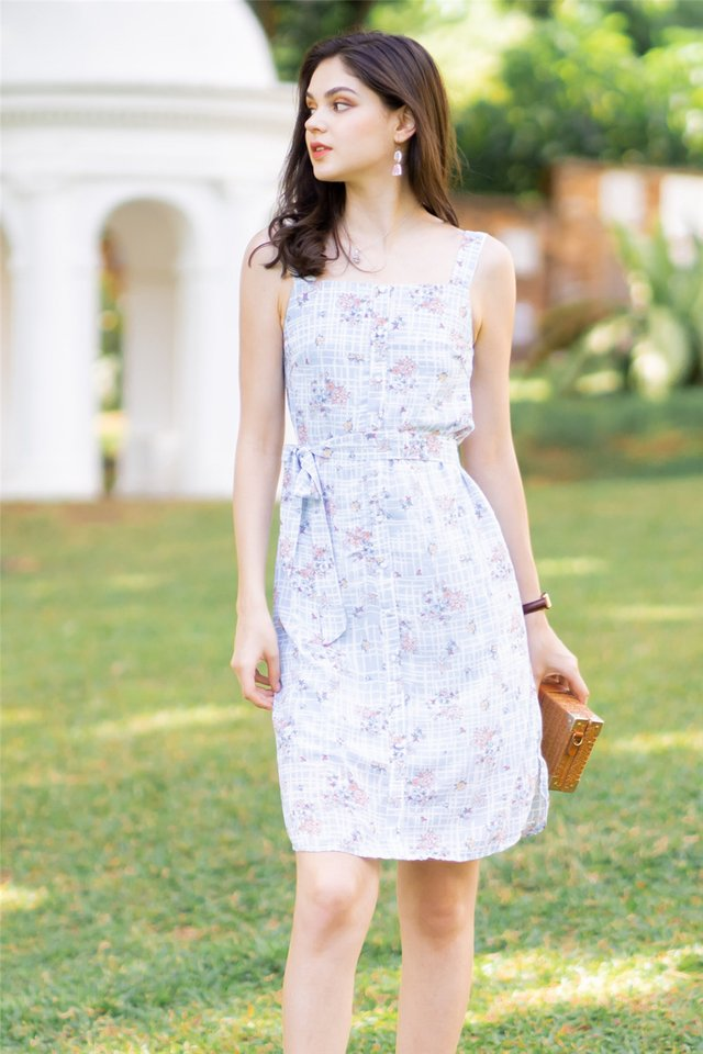 ACW Blue Grid Floral Button Panel Midi Dress