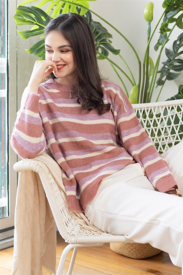 Colourblock Stripe Cozy Knit Sweater in Pink