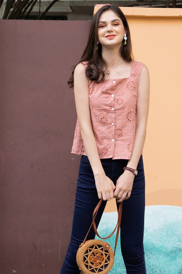 ACW Crotchet Detail Button Down Top in Dusty Pink