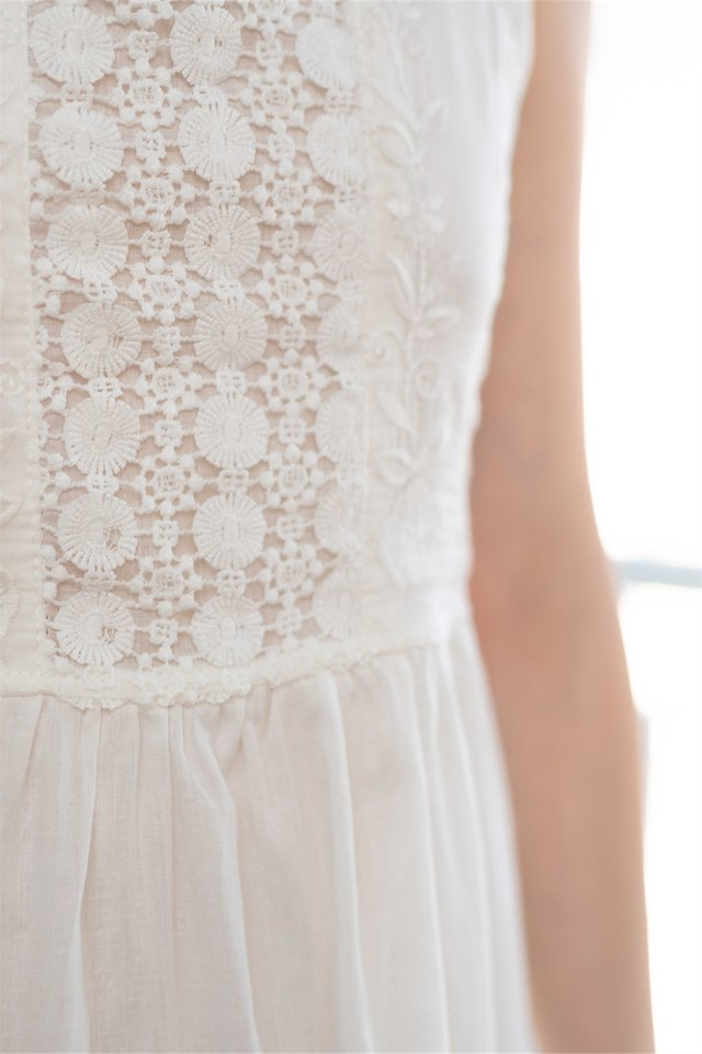 Intricate Lace Panels Midi Dress in White