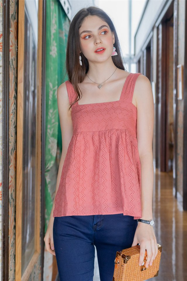 ACW Intricate Eyelet Babydoll Top in Dusty Rose