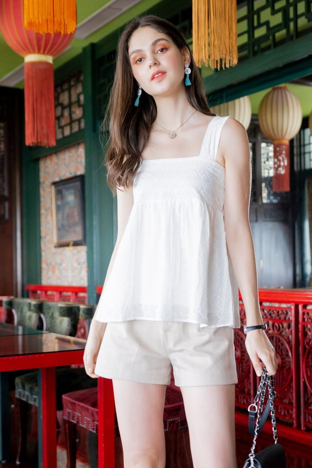 ACW Intricate Eyelet Babydoll Top in White