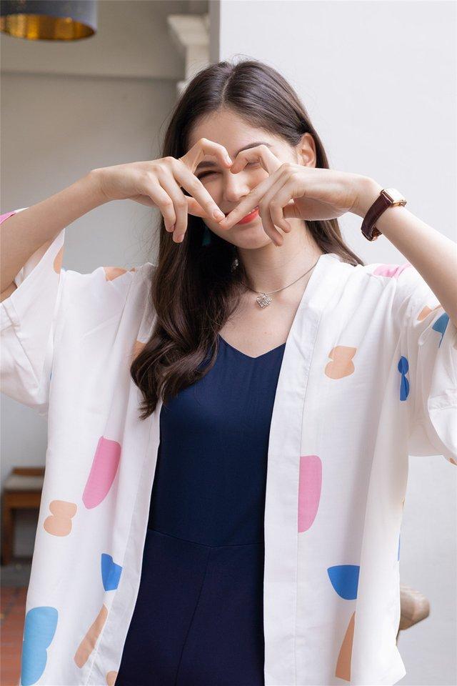 ACW Kimono in White Painted Brushstrokes