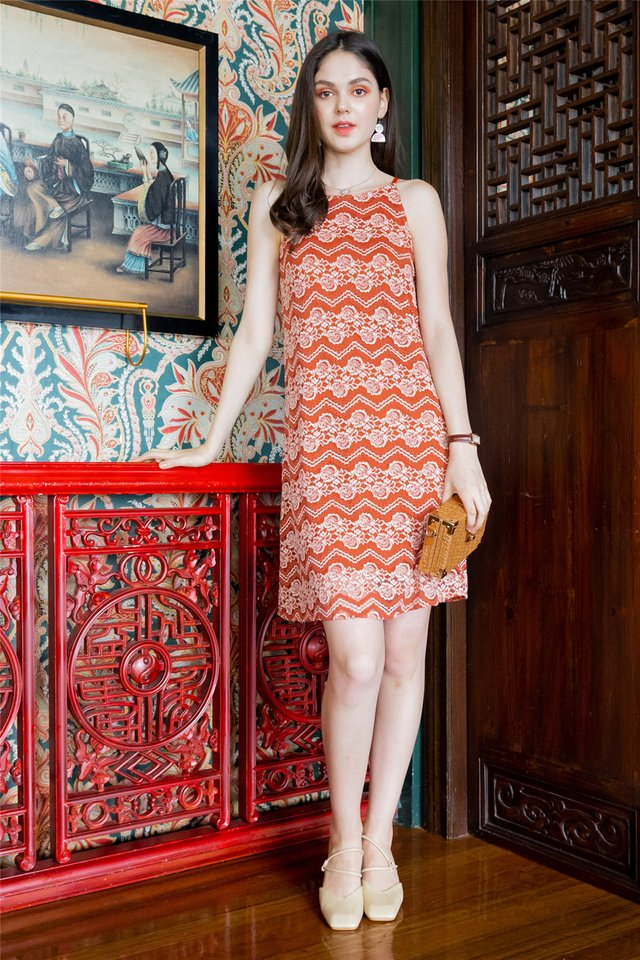ACW Lace Panels Cut In Dress in Saffron