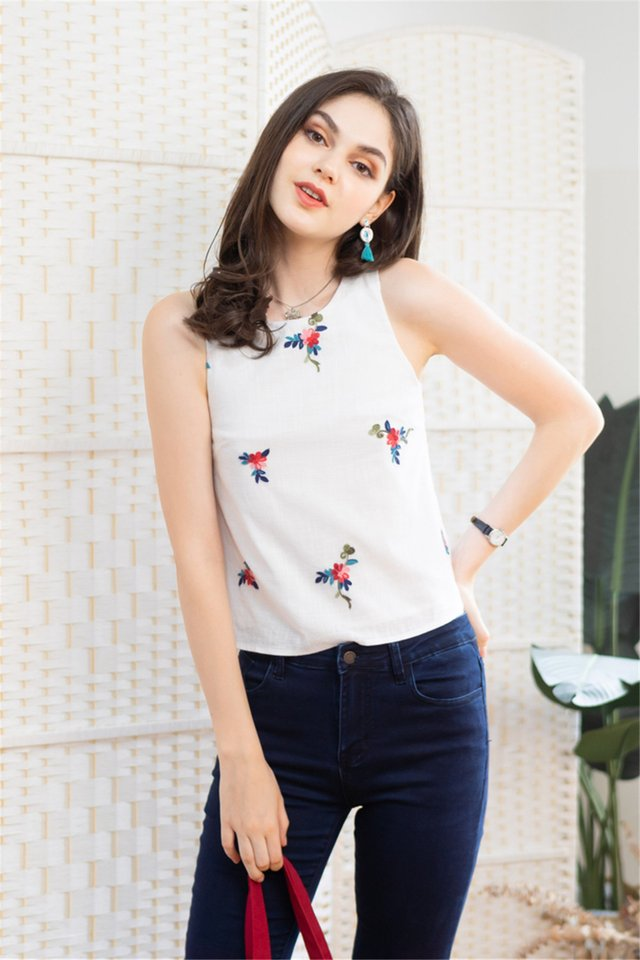 Leaf Embroidery Shell Top