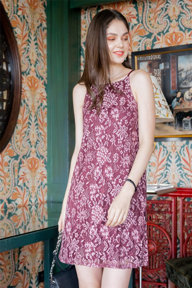 ACW Lace Panels Cut In Dress in Wine