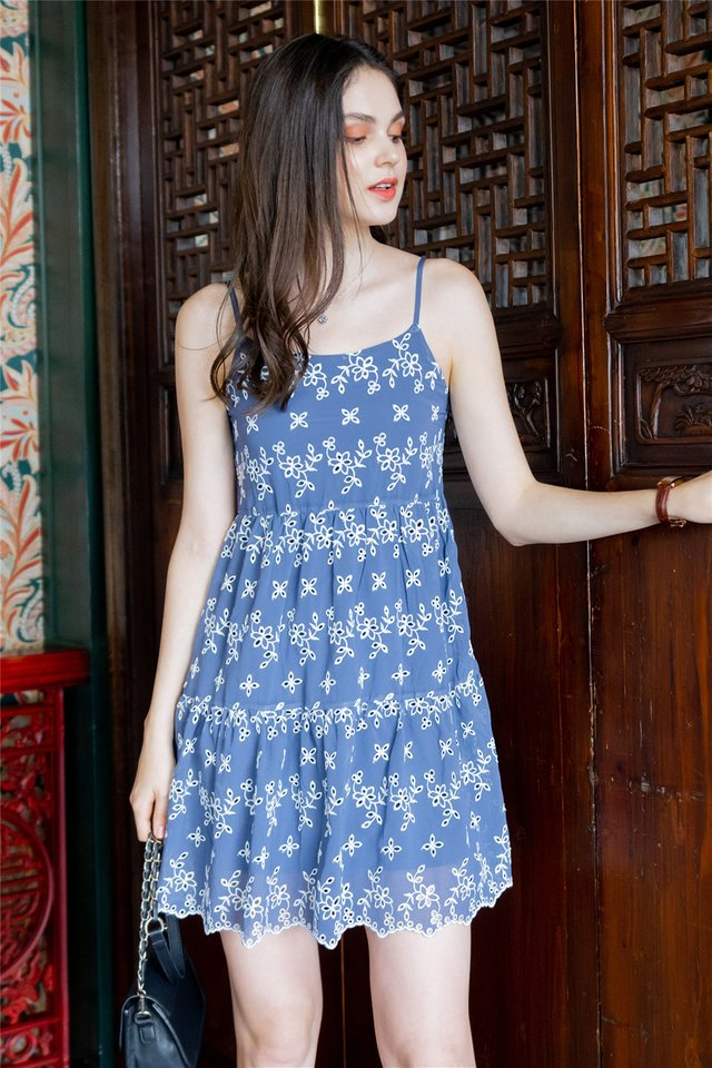 ACW Floral Eyelet Tiered Babydoll Dress in Blue
