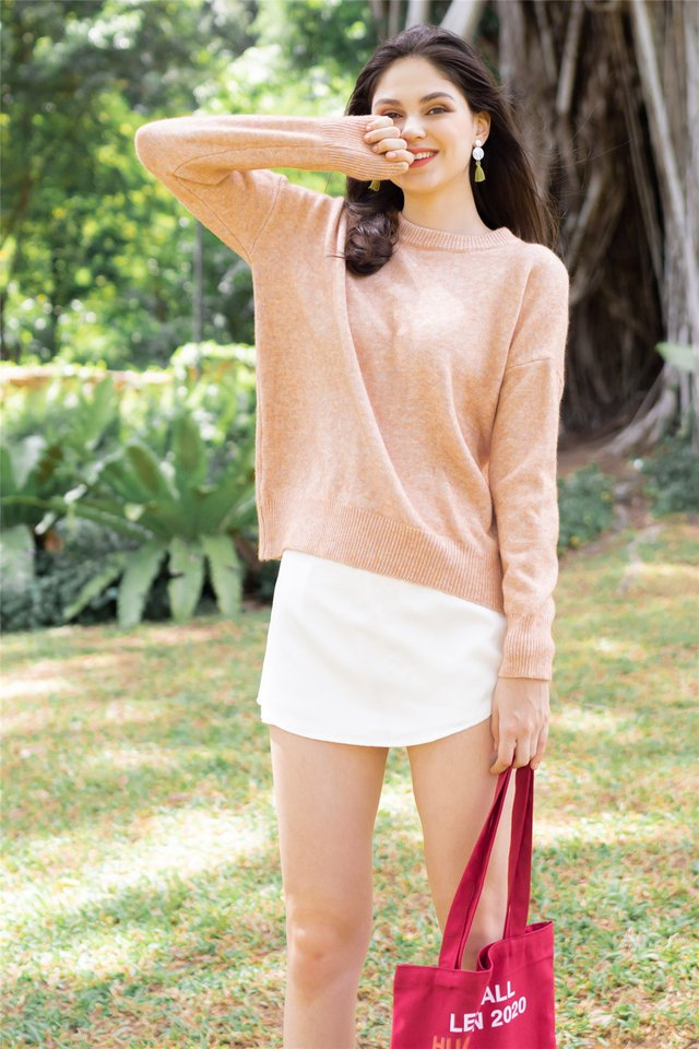 Cozy Knit Sweater in Peach