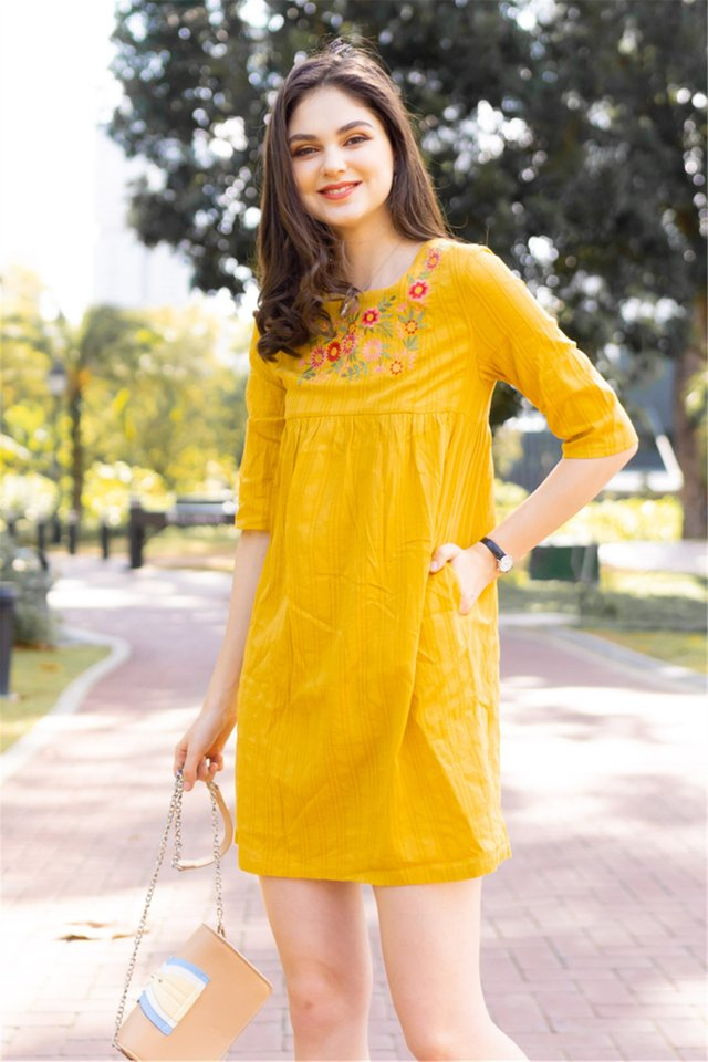 *BACK IN STOCK* ACW Square Neck Embroidery Sleeved Babydoll Dress in Daffodil