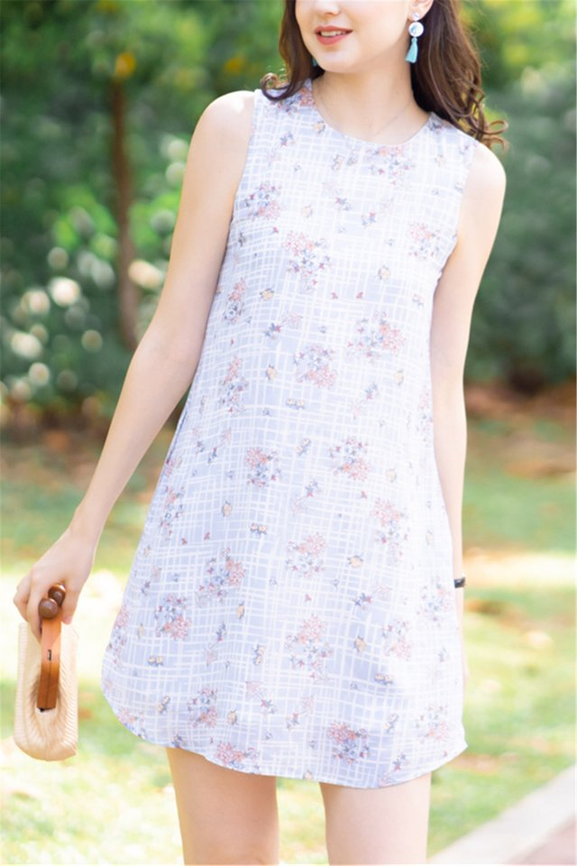 ACW Blue Grid Flora Printed Trapeze Dress