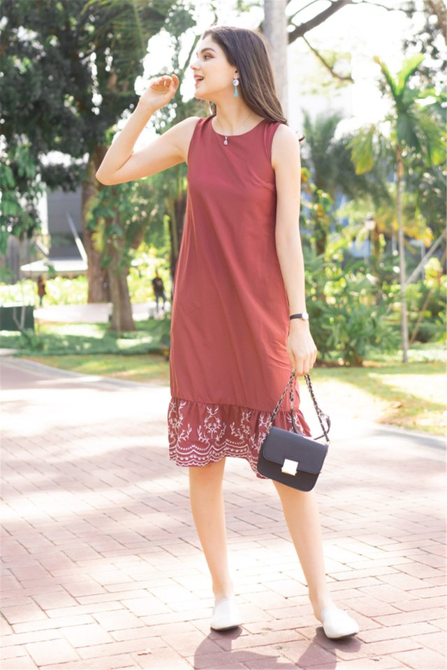 Embroidered Hem Dropwaist Midi Dress in Terracotta