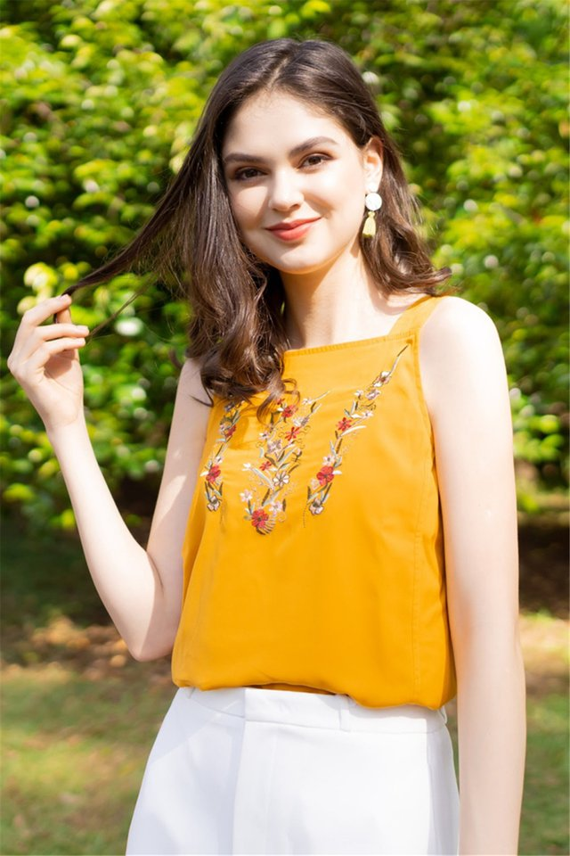 ACW Mustard Floral Embroidery Cut In Top