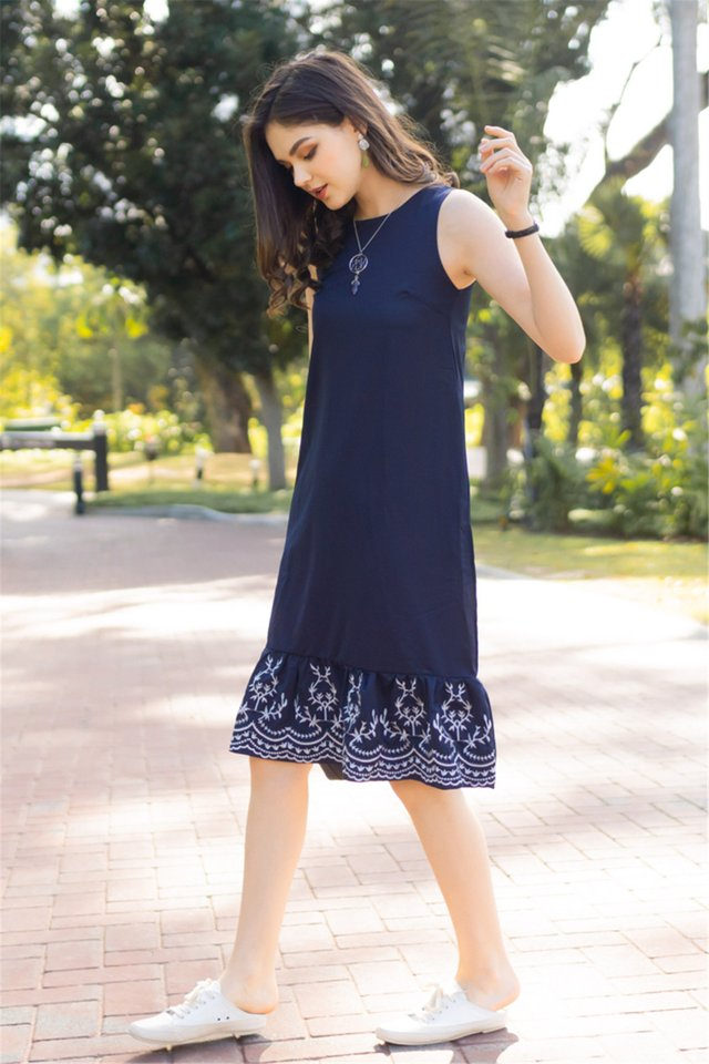 Embroidered Hem Dropwaist Midi Dress in Navy